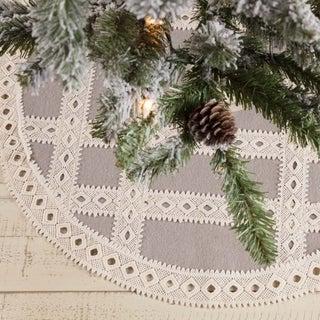 "Farmhouse Christmas Holiday Decor VHC Margot Tree Skirt Felt Lace Chambray - 21"" Diameter"