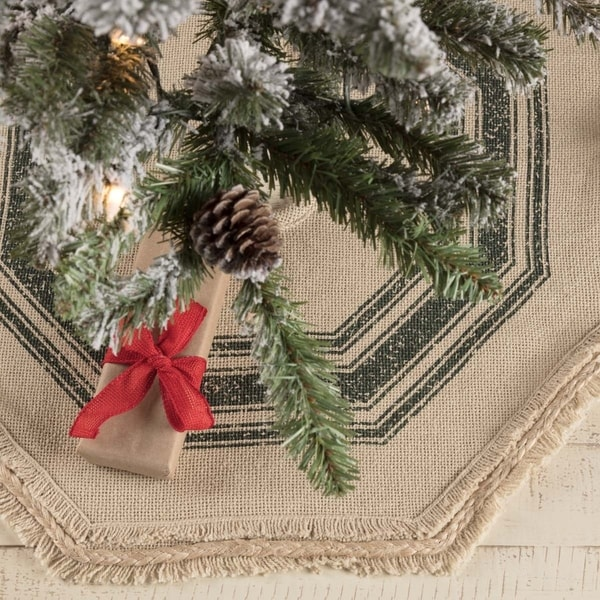 vintage burlap stripe mini tree skirt 21 diameter - Burlap Christmas Decorations For Sale
