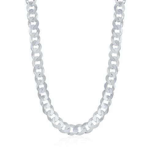 La Preciosa Sterling Silver Italian Rhodium Plated 140 Curb 6.25mm Cuban Chain