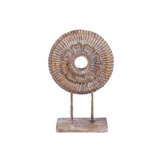 UTC52003: Cement Round Floral Sculpture on Rectangular Base Washed Concrete Finish Light Gray