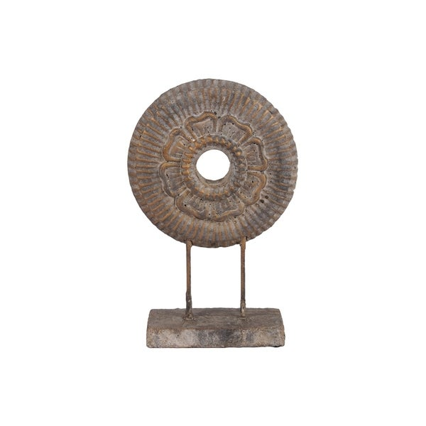 UTC52002: Cement Round Floral Sculpture on Rectangular Base Washed Concrete Finish Gold
