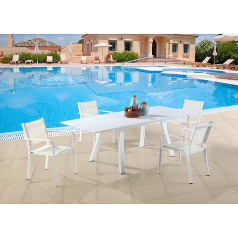 Somette Melbourne Matte White Outdoor Aluminum Table with Butterfly Extension