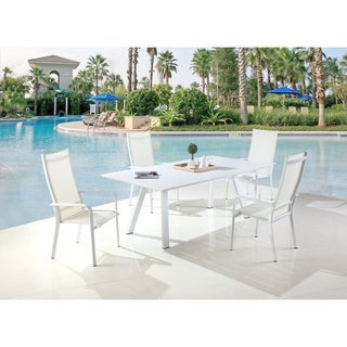 Somette Melbourne High Back Outdoor Aluminum Chair with Sling Seat (Set of 2)