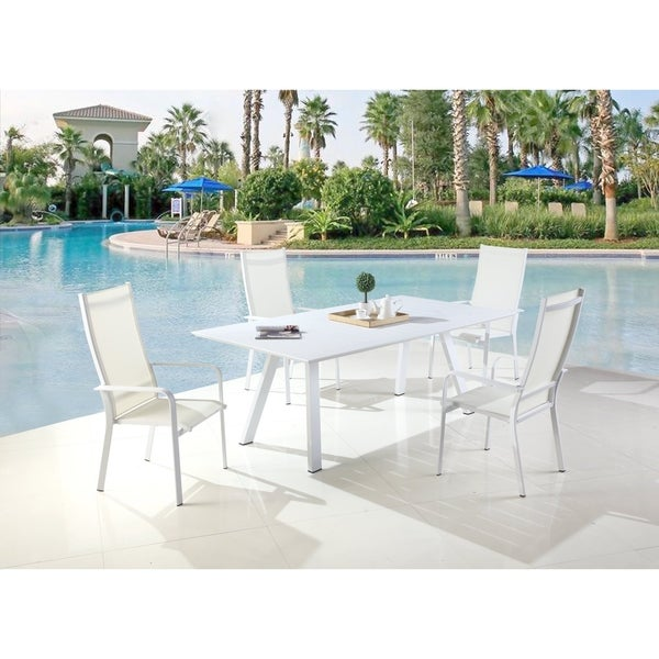 Somette Melbourne Matte White Dining Set with 4 High Back Chairs