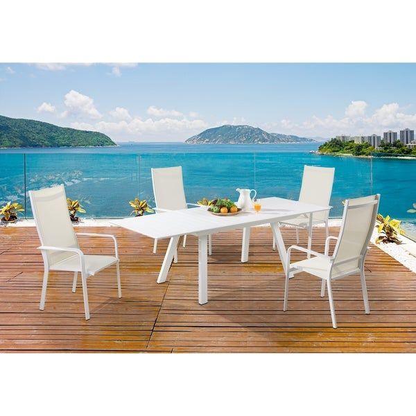 Somette Melbourne Matte White Extendable Dining Set. Opens flyout.