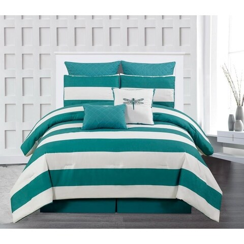 Duck River Delia Stripe Printed Online 7 Piece Comforter Set