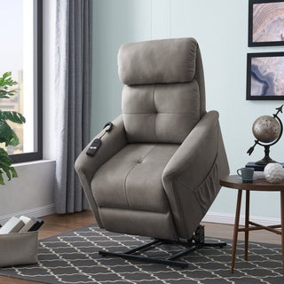 ProLounger Grey Nubuck Power Recline and Lift Chair