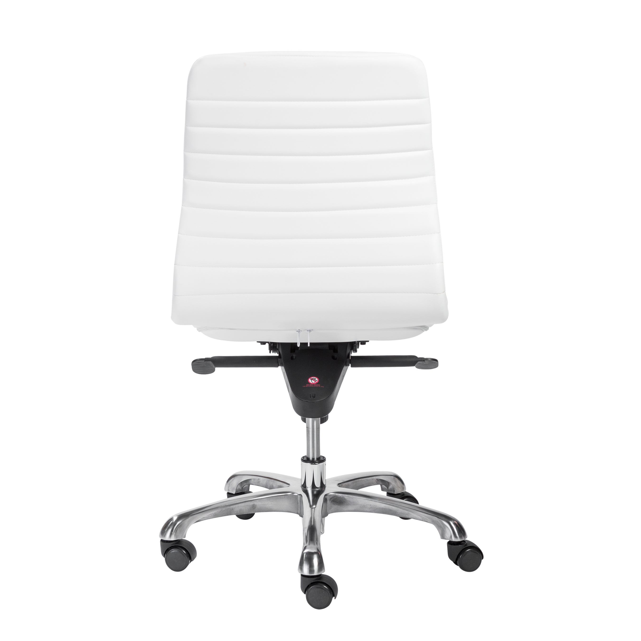 Everett Armless Low Back Office Chair In White With Polished Aluminum Base