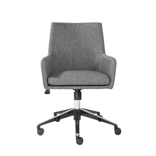 Calais-O Office Chair in Dark Gray with Polished Aluminum Base