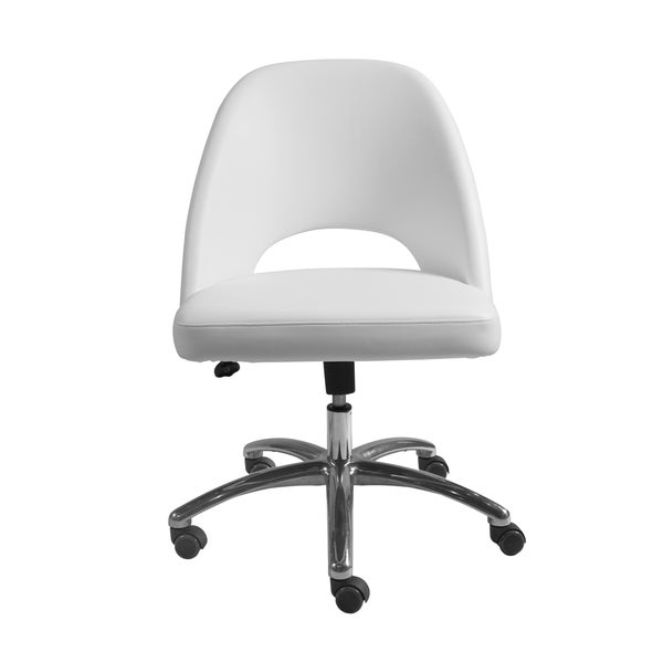 Teague Low Back Office Chair in White with Polished Aluminum Base