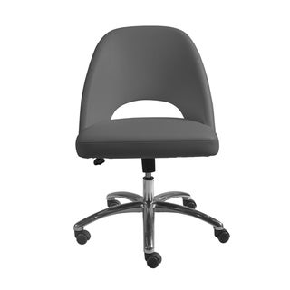 Teague Low Back Office Chair in Gray with Polished Aluminum Base