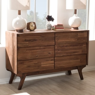 Carson Carrington Logten Mid-century Brown 6-drawer Dresser
