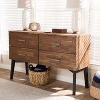 Mid-Century Brown 4-Drawer Dresser by Baxton Studio