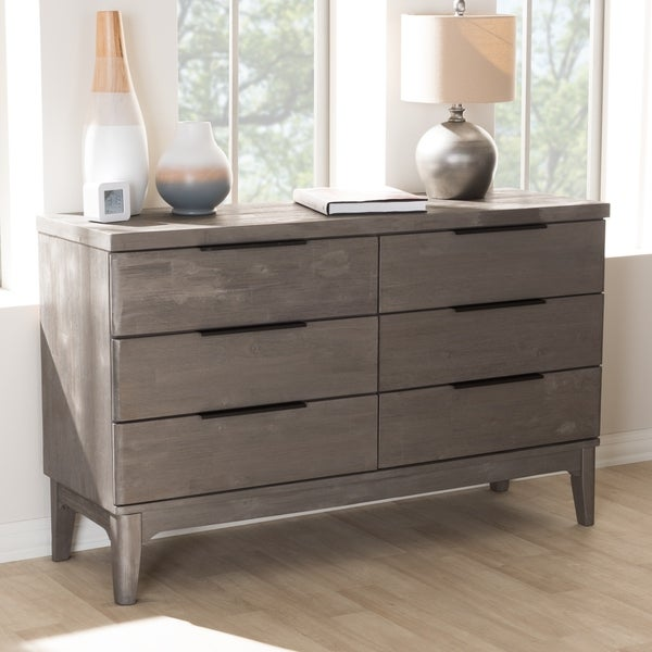 Rustic Platinum Grey 6 Drawer Dresser By Baxton Studio
