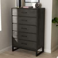 Rustic Grey Wood and Black Metal 5-Drawer Chest by Baxton Studio