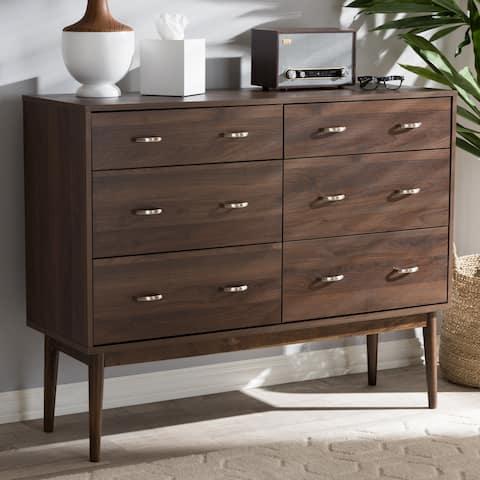 Mid-Century Brown 6-Drawer Dresser