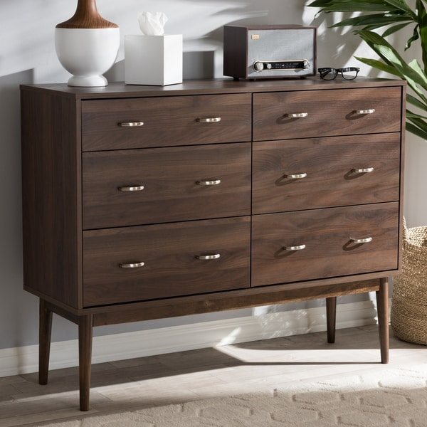 shop mid century brown 6 drawer dresser by baxton studio on sale free shipping today. Black Bedroom Furniture Sets. Home Design Ideas