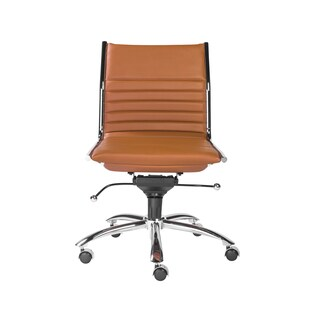 Dirk Armless Low Back Office Chair in Cognac with Chrome Base