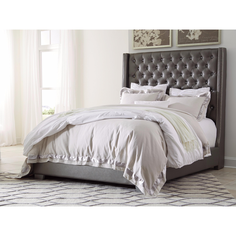 Ashley Coralayne Tufted Grey Faux Leather King Size Uphol...