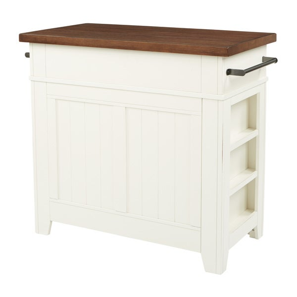 INSPIRED By Bassett Urban Farmhouse Kitchen Island With White Finish And  Vintage Oak Top   Free Shipping Today   Overstock.com   25497926