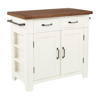 INSPIRED by Bassett Urban Farmhouse Kitchen Island with White Finish and Vintage Oak Top
