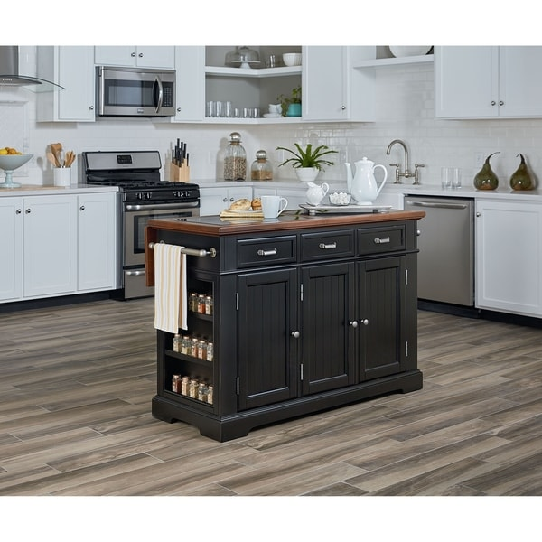 OSP Home Furnishings Farmhouse Basics Kitchen Island in Black Finish with Vintage Oak and Granite Top - N/A