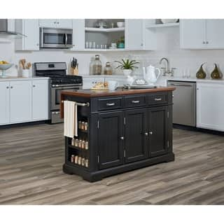 kitchen island furniture. INSPIRED by Bassett Farmhouse Basics Kitchen Island in Black Finish with  Vintage Oak and Granite Top Furniture For Less Overstock com