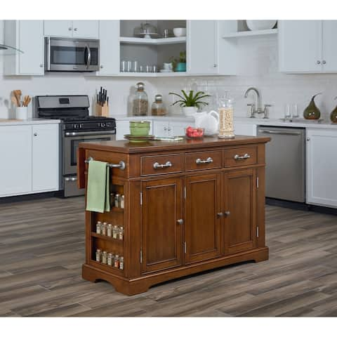Country Kitchen Large Kitchen Island in Vintage Oak Finish