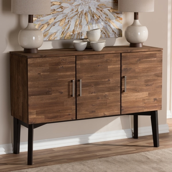 Strick & Bolton Billy Mid-Century Brown 3-Door Sideboard Buffet. Opens flyout.