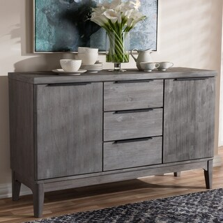 Strick & Bolton Billy Rustic Platinum Grey 3-Drawer Sideboard Buffet