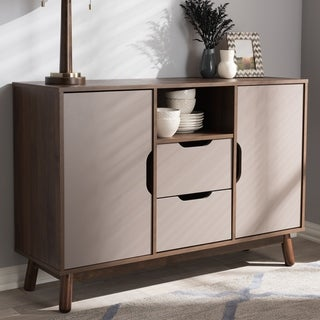 Mid-Century Brown and Grey Sideboard by Baxton Studio