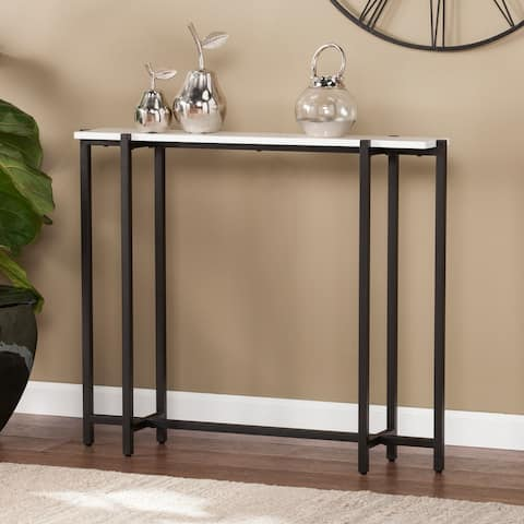 Hedley Black w/ White Contemporary Narrow Console Table