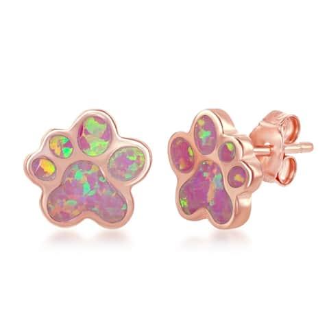 La Preciosa Sterling Silver Blue Opal or Rose Gold w/ Pink Opal Paw Print Stud Earrings