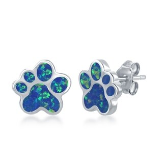 La Preciosa Sterling Silver Blue Opal or Rose Gold w/ Pink Opal Paw Print Stud Earrings