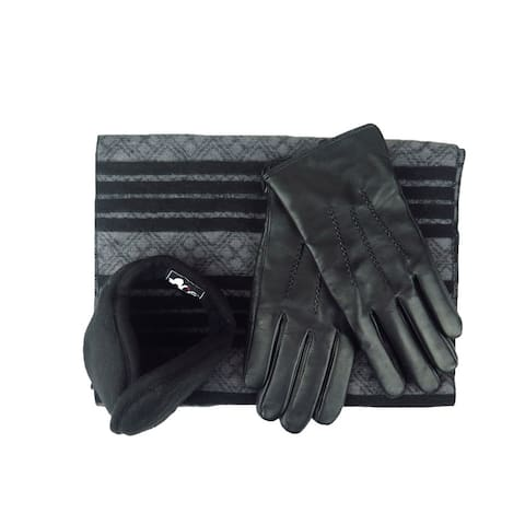 Mens Black Leather insulated warm driving Gloves & Silk Blend Scarf with Adjustable windproof Ear Warmer (large)