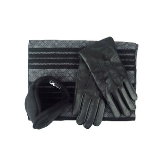 Mens Black Leather insulated warm driving Fur Black Pu Leather Gloves & Silk Blend Scarf with Adjustable windproof Ear Warmer
