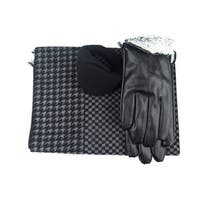 Mens Black Leather insulated warm driving Fur Gloves & Silk Blend Scarf with Adjustable windproof Ear Warmer(medium)