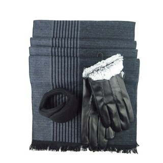 Mens Black Leather insulated warm driving Gloves & Silk Blend Scarf with Adjustable windproof Ear Warmer ( large)