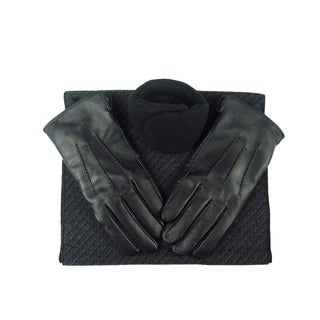 Mens Black Leather insulated warm driving Gloves & Silk Blend Scarf with Adjustable windproof Ear Warmer (x small)