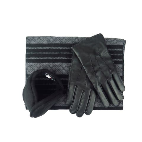Mens Black Leather insulated warm driving Gloves & Silk Blend Scarf with Adjustable windproof Ear Warmer (2x small)