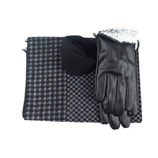 Mens Black Leather insulated warm driving Fur Gloves & Silk Blend Scarf with Adjustable windproof Ear Warmer (xx large)
