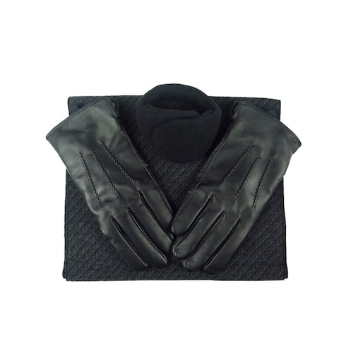 Mens Black Leather insulated warm driving Fur Gloves & Silk Blend Scarf with Adjustable windproof Ear Warmer (large)