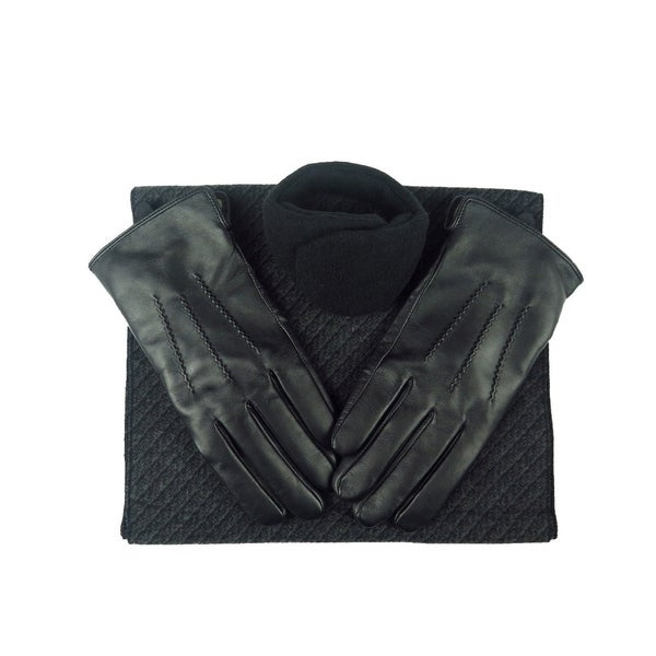 Shop Mens Black Leather Insulated Warm Driving Fur Gloves Silk