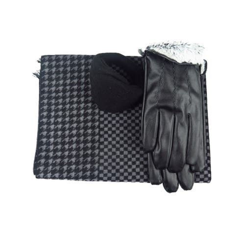 Mens Black Leather insulated warm driving Fur Gloves & Silk Blend Scarf with Adjustable windproof Ear Warmer (x small)