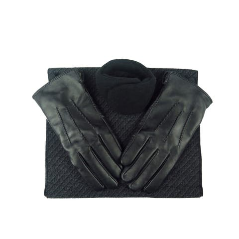 Mens Black Leather insulated warm driving Fur Gloves & Silk Blend Scarf with Adjustable windproof Ear Warmer (medium)