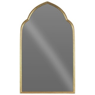 UTC40868: Metal Rectangular Wall Mirror with Arched Top Metallic Finish Antique Gold