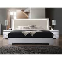 Best Master Furniture Athens White with LED Lighting Platform Bed