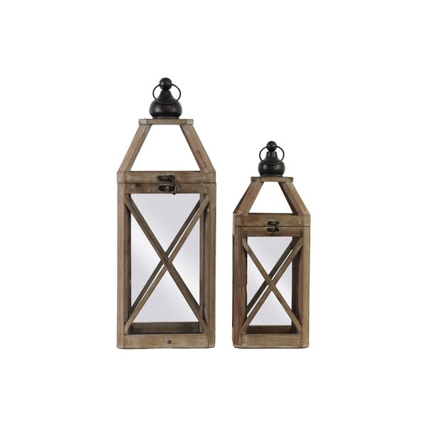 Urban Trends Wood Square Lantern with Ring Handle and Cross Design Body in Natural Finish, Set of 2 - Brown