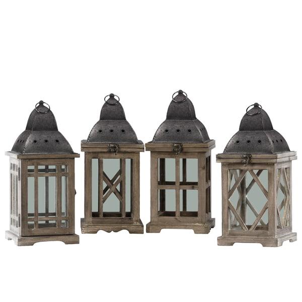 UTC41072-AST Wood Square Lantern Assortment of Four