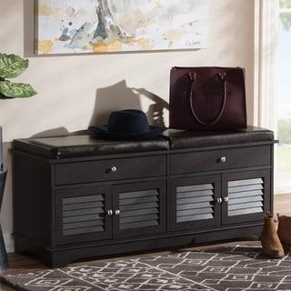 Contemporary Dark Brown  2-Drawer Shoe Storage Bench by Baxton Studio